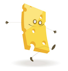Piece cheese with funny face and thin limbs vector