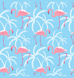 pink flamingos and palms seamless tropical vector image