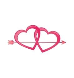 Pink heart love arrow design vector