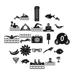 plunge icons set simple style vector image