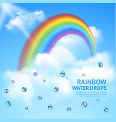 rainbow in clouds realistic poster vector image