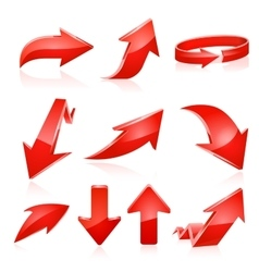 Red arrow icon set vector image