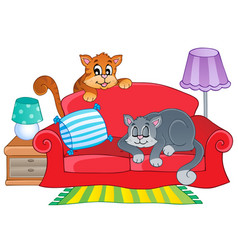 red sofa with two cartoon cats vector image