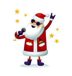 roc-n-roll santa character singing santa claus - vector image