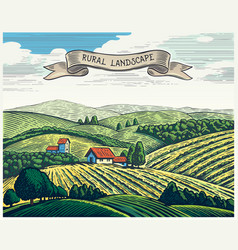 rural landscape in graphical style imitating the vector image