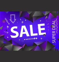 sale banner poster with hand drawn doodle vector image