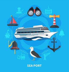 Sea port concept vector
