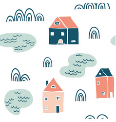 seamless landscape pattern vector image