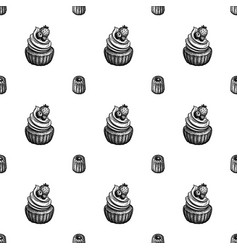 seamless pattern with canele and rum baba vector image