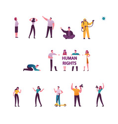 set male and female characters begging money vector image