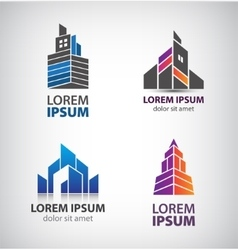 set of building logos towers property vector image
