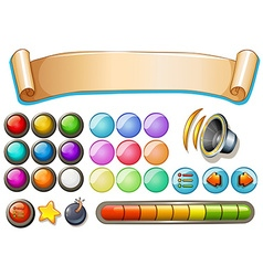 Set of game elements with banner and buttons vector