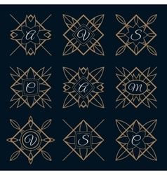 Set of monogram logo template with calligraphic vector