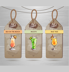 Set of restaurant labels cocktail menu design vector