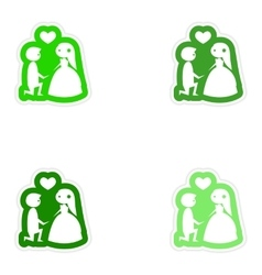 Set paper stickers on white background groom on vector