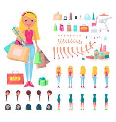 Shopaholic constructor woman vector