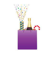 Shopping bag with bottle of champagne and vector