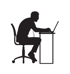 Silhouette of man working at computer vector