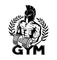 Spartan with dumbbell in hand vector