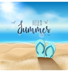 Summer beach travel design Sum with sand and vector