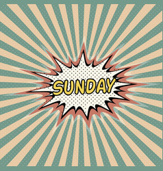 Sunday day week comic sound effect vector