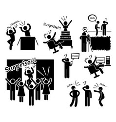 Surprise and prank stick figure pictogram icons a vector