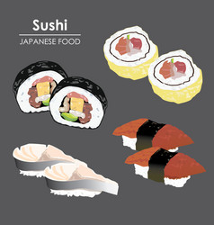 Sushi roll food japanese cartoon vector