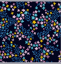 tiny flowers seamless pattern with leaves vector image
