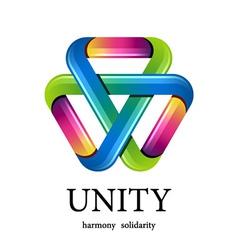 Unity multicolor triangle icon vector
