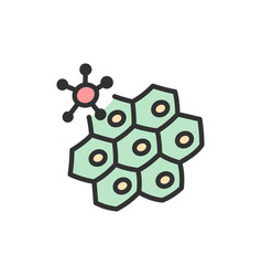 Virus attacks cell flat color line icon vector