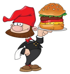 waiter gnome with burger vector image