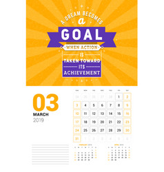 wall calendar template for march 2019 design vector image