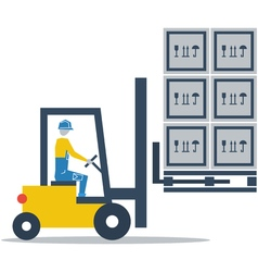 Warehouse services fork truck driver loading boxes vector