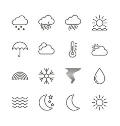 weather set icon outline forecast collecti vector image