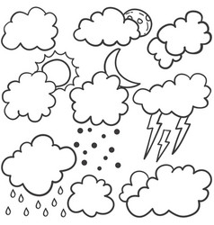 Weather set style with cloud vector