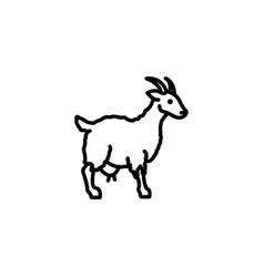 Web line icon goat livestock black on white vector