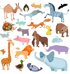 wild animals set vector image