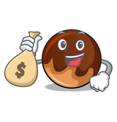 with money bag chocolate donut character cartoon vector image