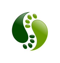 Yin yang foot prints symbol logo design vector