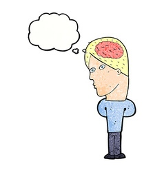 cartoon man with big brain with thought bubble vector image