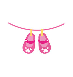 cute girl shoes baby shower decoration celebration vector image
