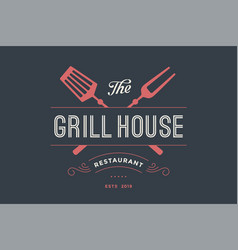 logo of grill house restaurant vector image