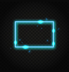 Neon blue rectangle frame with space for text vector
