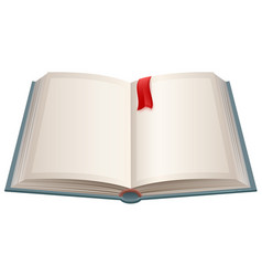 open book with empty sheets and red bookmark vector image vector image