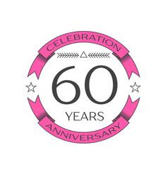 Realistic sixty years anniversary celebration logo vector