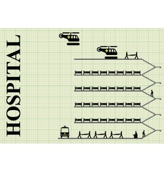 Representation of a busy hospital vector image vector image