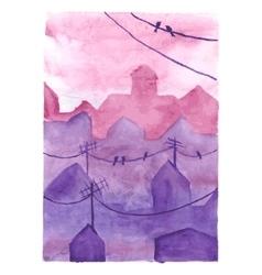 Watercolor night town vector image