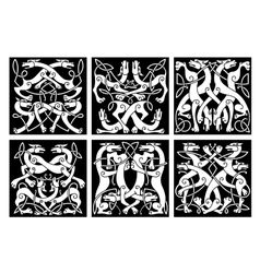 Wolves or dogs patterns with celtic ornament vector image vector image