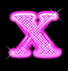 X letter pink bling girly vector image vector image