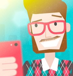 Bearded man taking a selfie photo vector